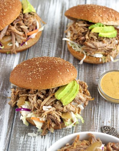 Chipotle Slow Cooker Pulled Pork Sandwiches with Avocado Ranch Sauce
