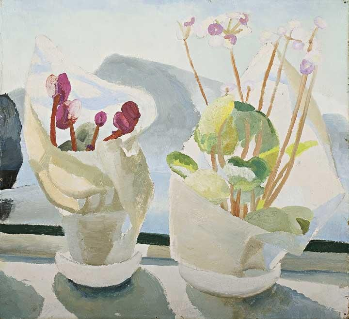 winifred nicholson - oil on canvas - cyclamen & primula (c. 1926)