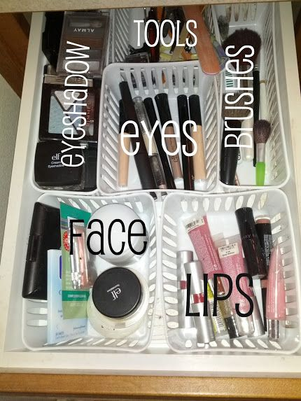 Make-up drawer organized | rick•a•bam•boo #organization  so funny, i just did this...love it!