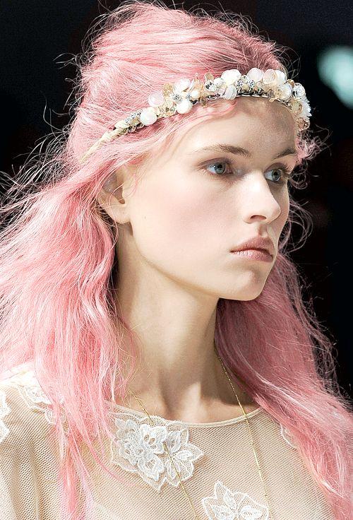 Pastel pink runway hair