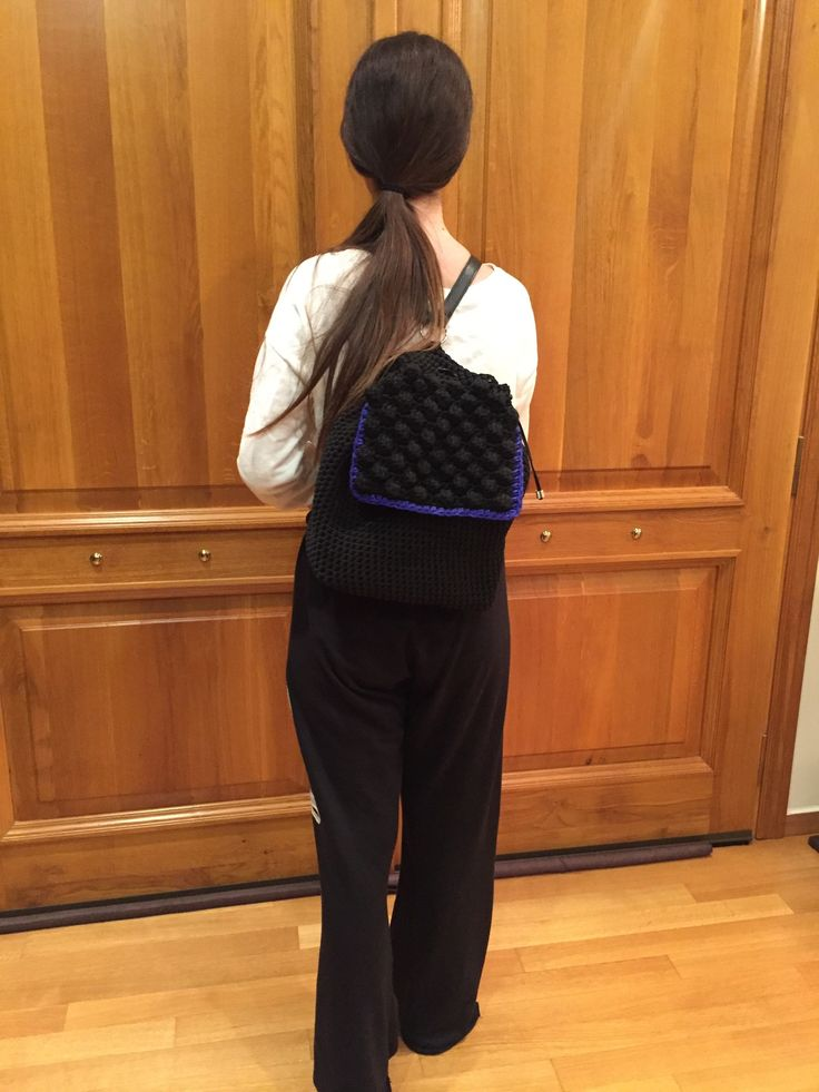 Handmade crochet backpack with leather detail by Urban Queen