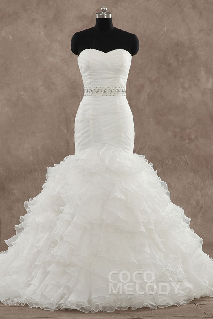 Charming Trumpet-Mermaid Sweetheart Train Organza Sleeveless Zipper With Button Wedding Dress with Beading h5pn0276