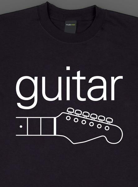 Remera musicwear  guitar blanco sobre negro