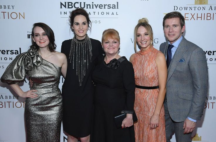"""Sophie McShera, Michelle Dockery, Lesley Nicol, Joanne Froggatt and Allen Leech at the """"Downton Abbey: The Exhibition"""" Gala Reception in NYC. We miss them and the show SO MUCH!  http://www.downtonexhibition.com/"""