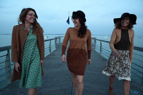 Robe style et motifs rétro Los Angeles 70' / unique dress