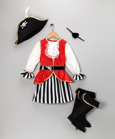 Take a look at this Black & Red Pirate Skirt Dress-Up Set - Toddler & Girls by Dress Up America on #zulily today!