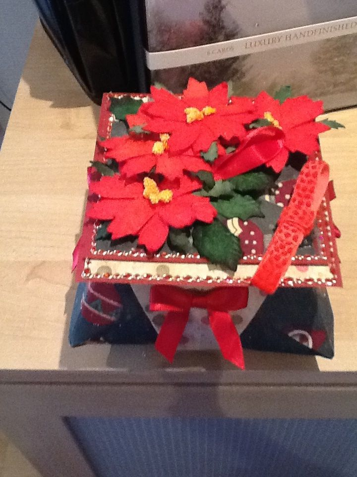 This is a Christmas  themed box. Ive used Christmas cardstock .Ive decorated the box with red bows and red poinsettas and leaves from Wild Orchid Crafts