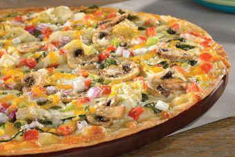 Artisan Thin Crust, Creamy Garlic Sauce, Spinach, Zucchini, Mushrooms, Artichoke Hearts, Tomatoes, Mixed Onions, Herb & Cheese Blend.