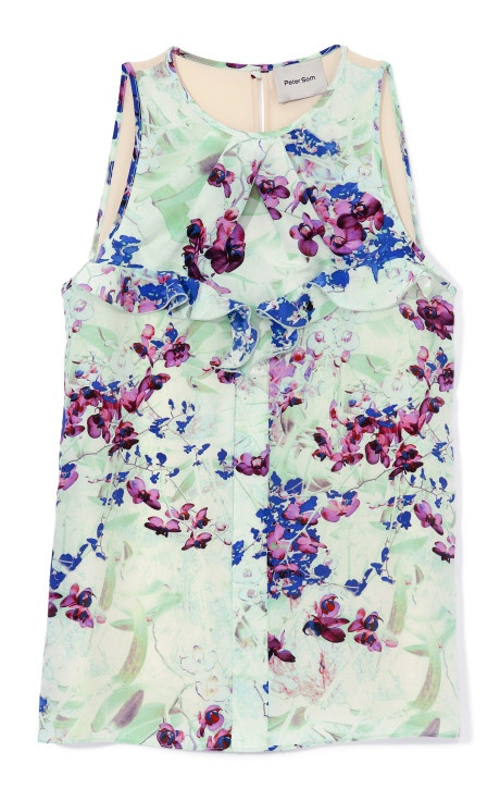 Wild Orchid Print On Crepe De Chine Top | Peter Som