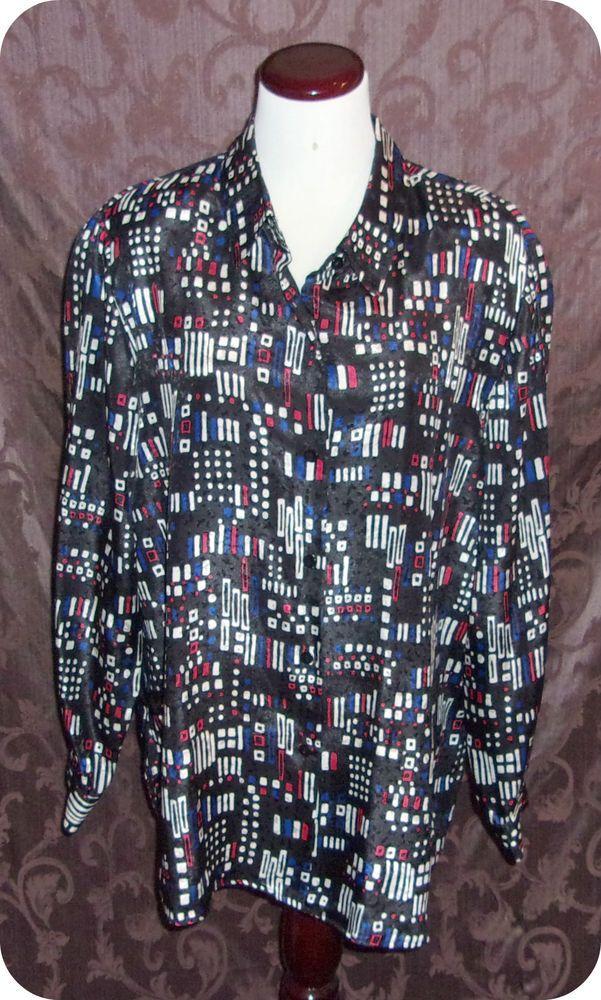 Joan Leslie Womens Shirt Plus Size 16W Black White Button Down Long Sleeve Poly #JoanLeslie #ButtonDownShirt #CareerCasual #Fashion #Clothing #Womens #Plussize #Size16