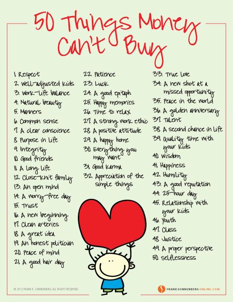 50 Things Money Can't Buy  | Values to Live By | www.FrankSonnenbergOnline.com