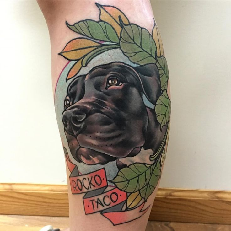 "rizzabootattoos: "" 2nd dog portrait from yesterday. Thanks so much Jenna, had fun with this one. Tattooed this on my guest spot at @sostattoos #doggystyle #neotraddogportrait #rizza_boo #bathstreettattoocollective #tattoosuppliesuk #glasgowtattoos..."