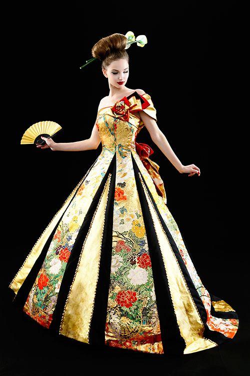 和ドレス 着物ドレス Wedding Amp Ball Gowns Pinterest Fashion
