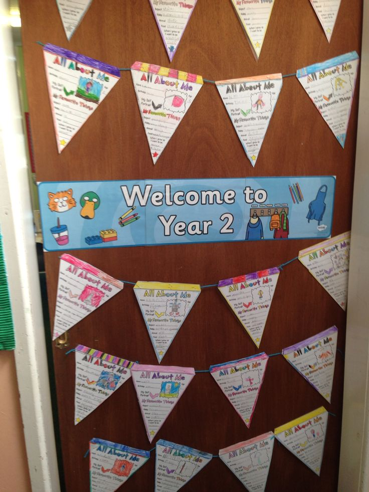 All about me bunting used for a classroom door display