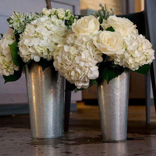 9-inch Tin Flower Vase..Create the perfect ambience..wedding or party..versatile Galvanized Flower Market Bucket with Handle. Large or Small..wedding themes, garden parties or other events
