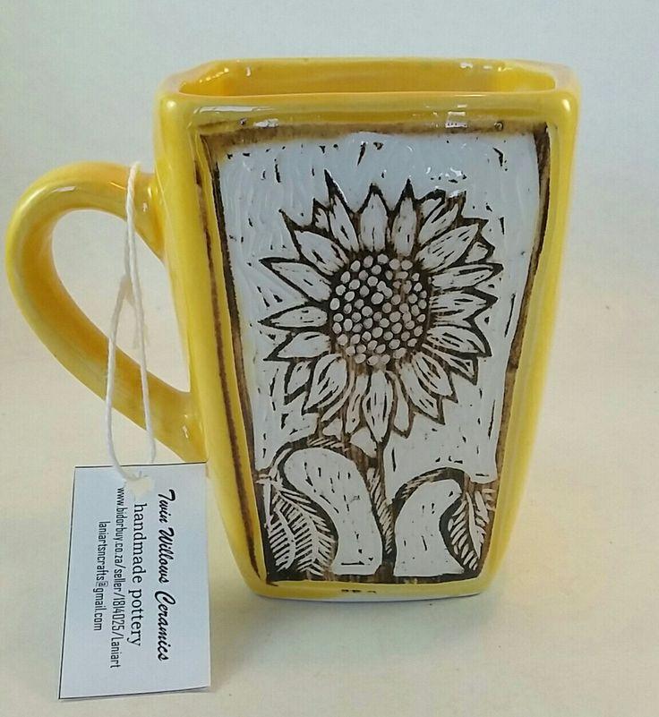 Sgraffito carved Sunflower square mug. Holds 250ml liquid.