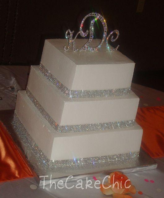 Square Wedding Cakes With Bling | Rhinestone Wedding cake 007 | Flickr - Photo Sharing!