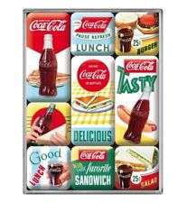 Retro 9 pc Magnet Set 'COCA COLA - DELICIOUS' Vintage American Diner Licensed