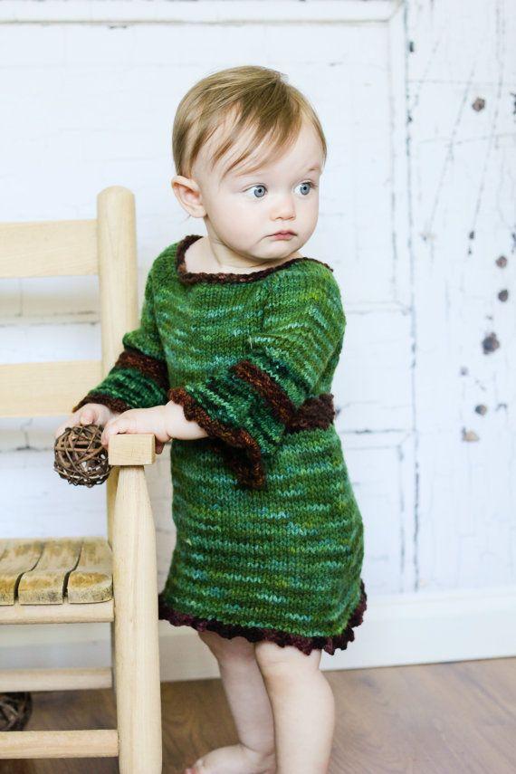 Baby Sweater Dress  Green Eco Friendly Hand by WildernessSerenity
