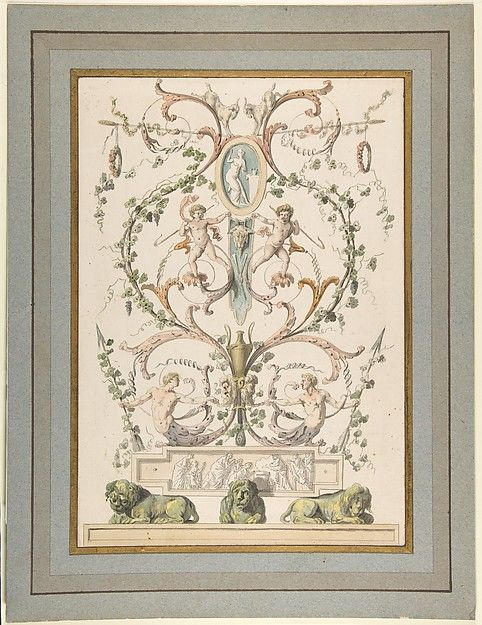 Design for an Arabesque, Étienne de Lavallée-Poussin (French, Rouen 1733–1793 Paris), ca. 1780–1793, Pen and gray and brown ink, brush and colored wash