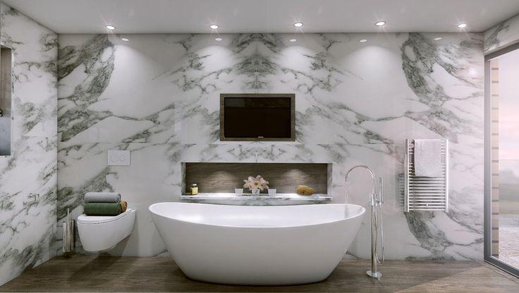 Łazienka, nowoczesna łazienka, telewizor w łazience, wanna. Zobacz więcej na: https://www.homify.pl/katalogi-inspiracji/15650/jak-wkomponowac-telewizor-w-wystroj-wnetrza