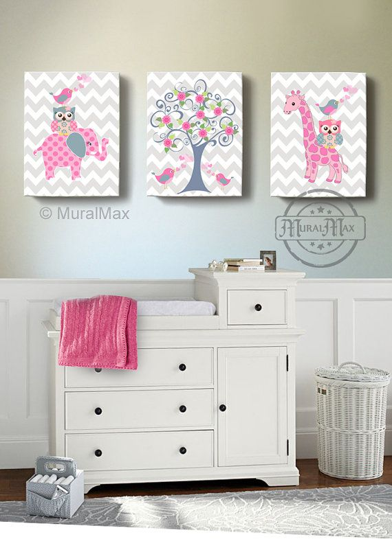 Nursery art nursery decor elephant giraffe owl for Baby girl nursery mural
