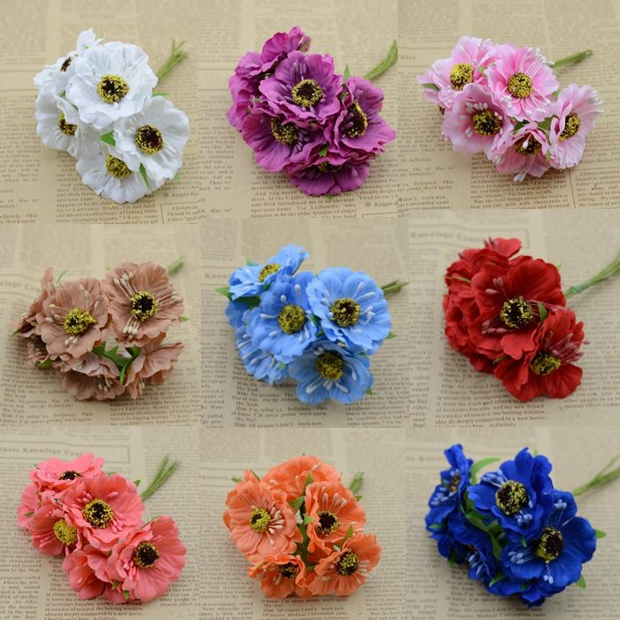 2016 New 6Pcs/lot 3 4cm Cloth Cherry blossoms Wedding Home Christmas Decoration Artificial Fowers Craft Handmade DIY 14 Colors-in Decorative Flowers & Wreaths from Home & Garden on Aliexpress.com | Alibaba Group