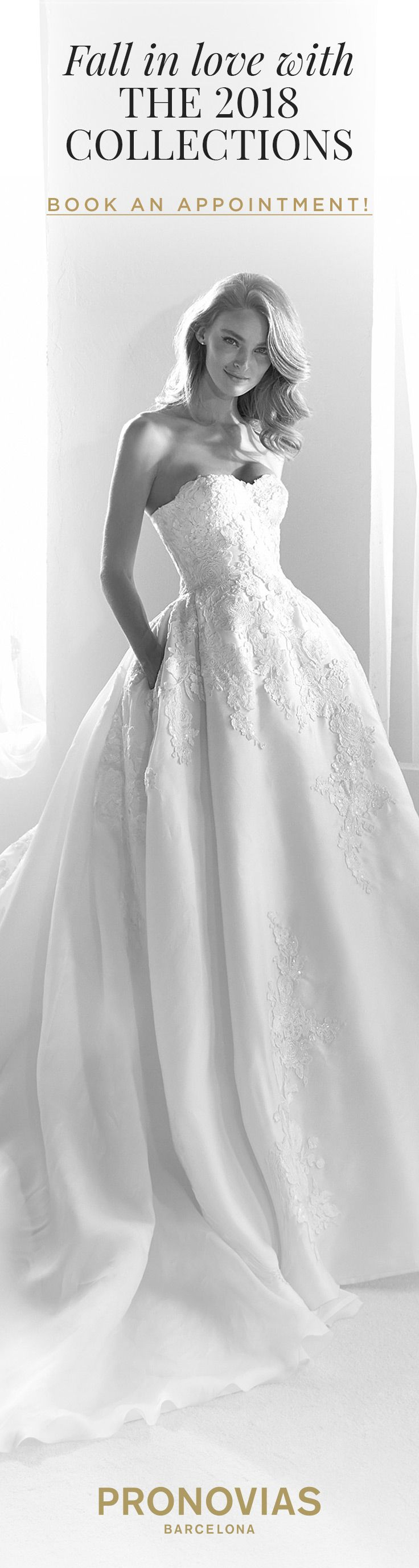 Try on the Roxana dress with ideal side pockets at a store near you! #AtelierPronovias2018