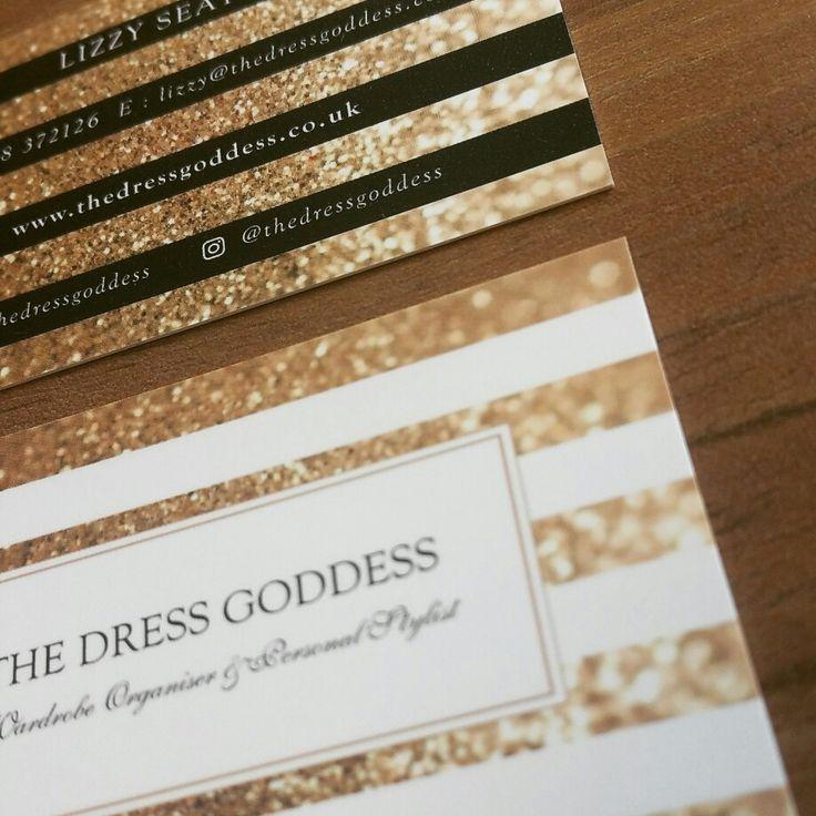 Business Cards 450gsm Luxury Velvet Touch Finish Client : The Dress Goddess Design & Print http://www.designbybimbo.co.uk Sparkly Gold Glitter Business Cards. Design Print Inspiration Girlie, Pretty and Glamorous