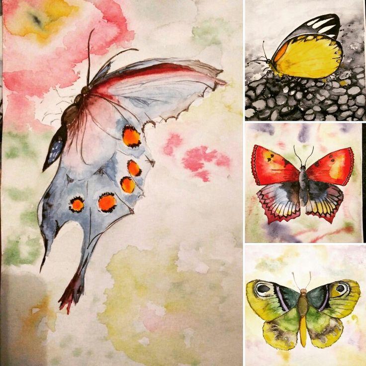Kelebekler#Butterflies#Suluboya#watercolor#