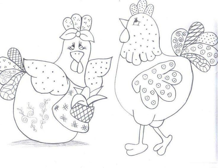 pintura em tecido galinhas - Pesquisa Google                                                                                                                                                      Mais
