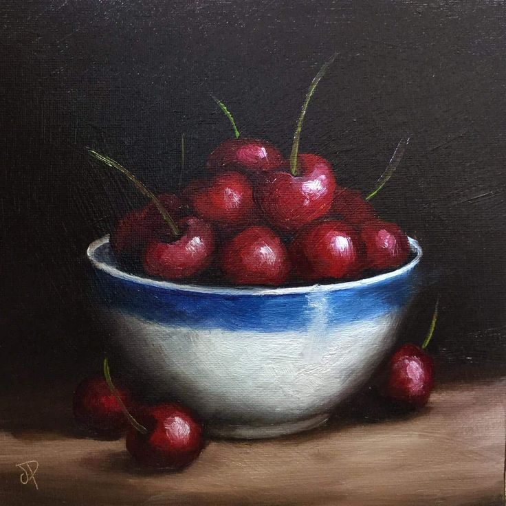 FineArtSeen - Bowl of Cherries by Jane Palmer. This original oil painting of still life is the perfect gift for food lovers. It comes from the collection on FineArtSeen. Click to view more art at great prices from the Home Of Original Art. << Pin For Later >>