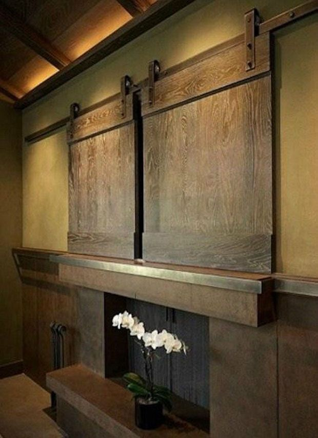 interior barn doors for houses | Concealed Pop-Up Flatscreen in the Amsterdam Townhouse by Stanic ...