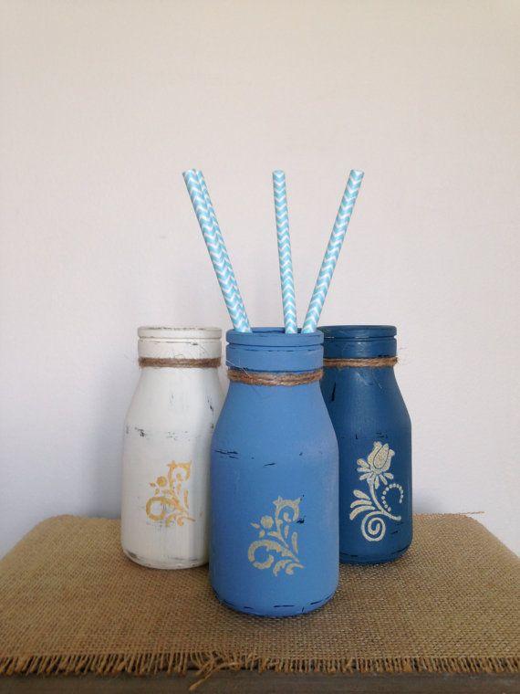 Set of 3 Rustic Bottles in 'Breezy Blues' by ColourRustique