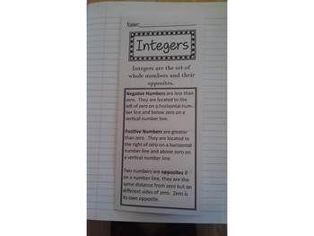 Integers Print n' Fold (Foldable) Interactive Notebook