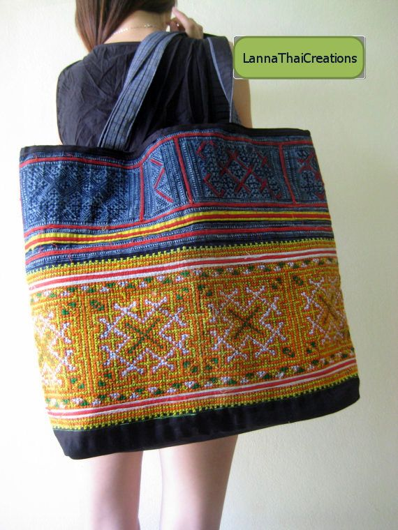 Hmong Embroidered Textile Bag by LannaThaiCreations