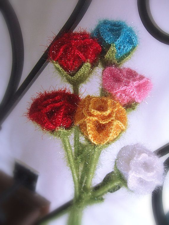 Crochet roses hand knitted roses by ADYALI on Etsy, $10.90