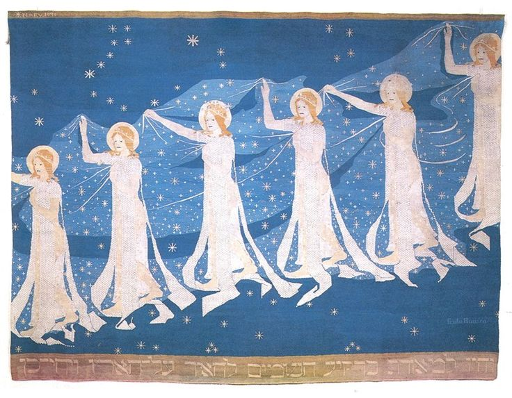 Attention Art Nouveau lovers in Norway, there is an exhibition in Stavanger at the Stavanger Art Museum which is highlighting the work of Frida Hansen, an amazing art nouveau textile artist. The exhibition runs until the 18th of October and it looks lovely. More info at the museum's website.As for this tapestry, it's called The Milky Way and it was done by Hansen in 1898. :)