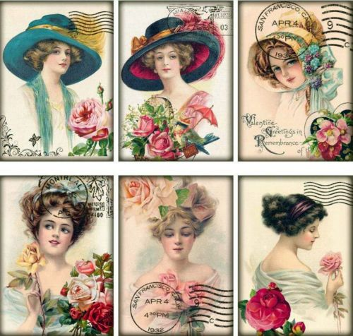 6-LADIES-TURN-OF-CENTURY-HATS-VINTAGE-155-LB-PAPER-CRAFT-CARD-SCRAPBOOK-TAG
