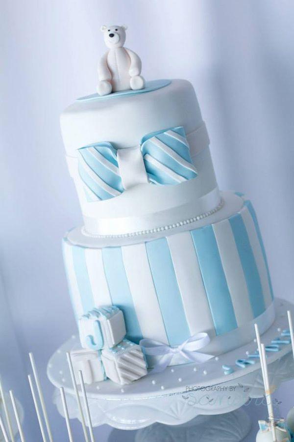 LOVE this cake at a Blue Christening Birthday Party! Found via Kara's Party Ideas | KarasPartyIdeas.com