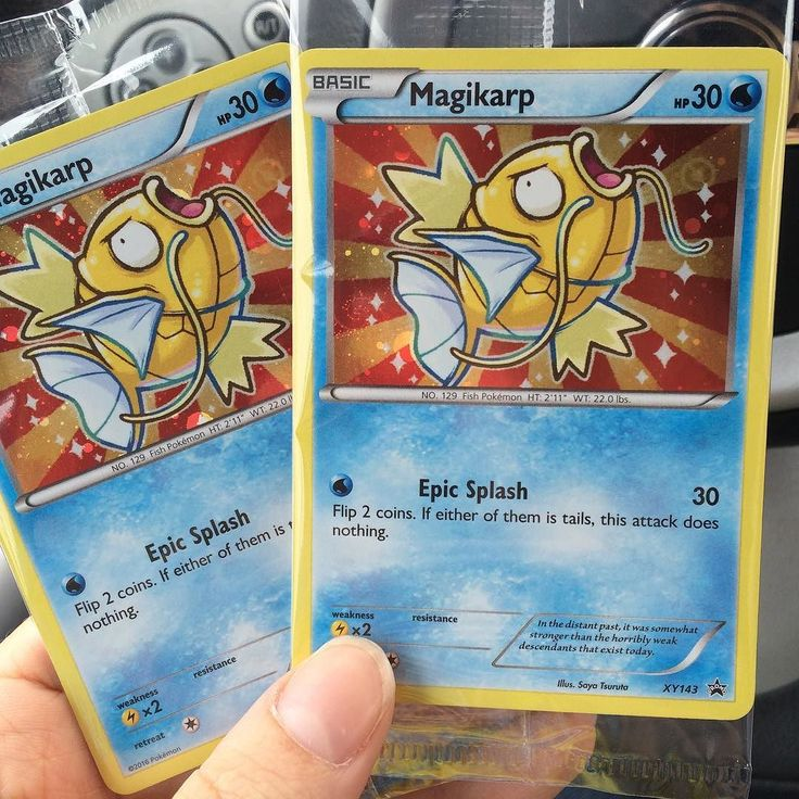 """In the distant past it was somewhat stronger than the horribly weak descendants that exist today."" - Pokemon franchise on shining Magikarp. I'm feeling the love   Karp Karp Karp Karp Karp!  #epicsplash #splashattack #magikarp #shinymagikarp #shiningmagikarp #pokemontcg #pokemoncard #pokemoncards #pokemoncollector #pokemoncollection #pokemoncardsforsale #pokemoncardsfortrade #pokemoncommunity #pokecommunity #pokemonmaster #pokemontrainer #pikachu #gyarados #pokken #pokemon #pokémon…"
