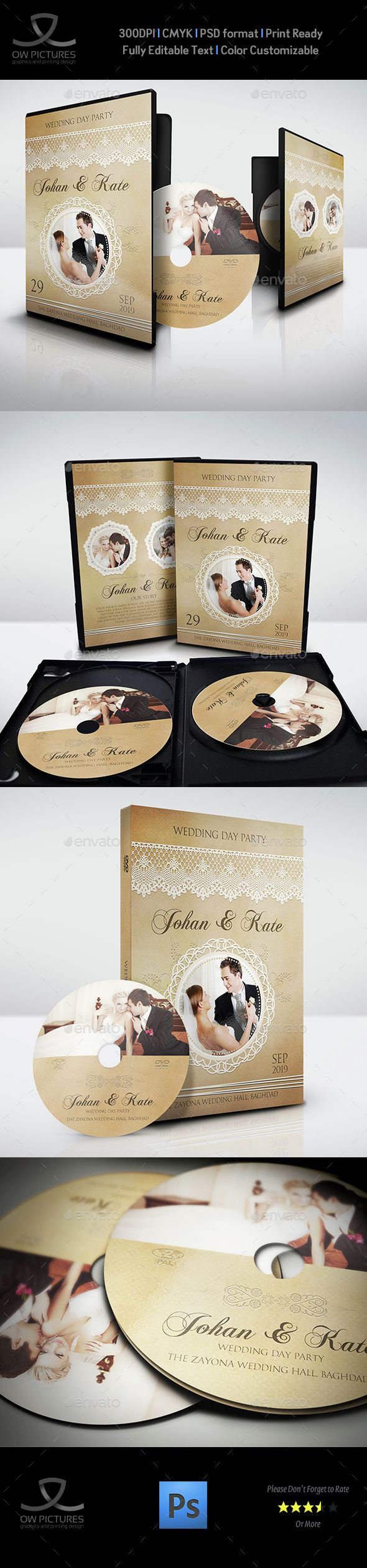 Wedding DVD Cover and DVD Label Template Vol.6 — Photoshop PSD #bride #disc covers • Available here → https://graphicriver.net/item/wedding-dvd-cover-and-dvd-label-template-vol6/14871431?ref=pxcr
