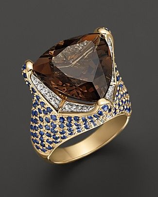 Smokey Quartz Ring With Diamonds And Blue Sapphires in 14K Yellow Gold | Bloomingdale's14K Yellow, Yellow Gold, Blue Sapphire, Gold Online, Jewels, White Diamonds, Smokey Quartz, Quartz Rings, Jewelry Boxes
