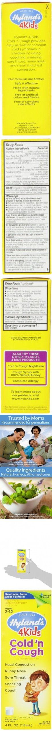 Hyland's 4 Kids Cold and Cough Liquid, Safe and Natural Relief of Cold Symptoms for Children, 4 Ounce
