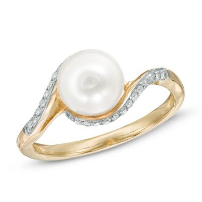 7.5 - 8.0mm Cultured Freshwater Pearl and Diamond Accent Ring in 10K Gold