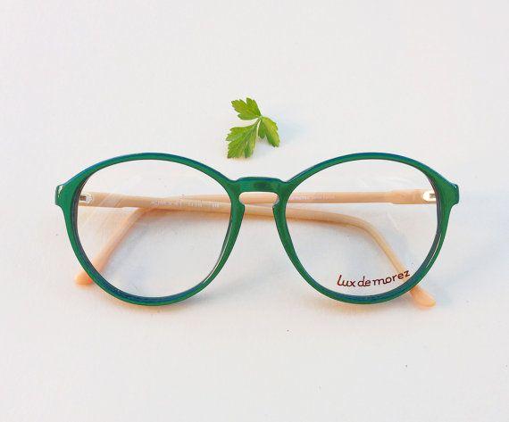 montatura Vintage / occhiali hipster tondi verdi e di Skomoroki