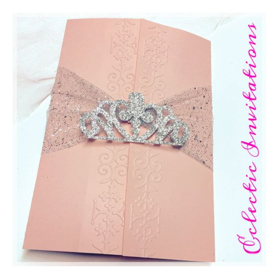 Quinceañera Princess Invitation, Sweet15, Sweet 16, birthday invitations, Quince invite, light pink, light blue, lavender, glittered crown.   Pink