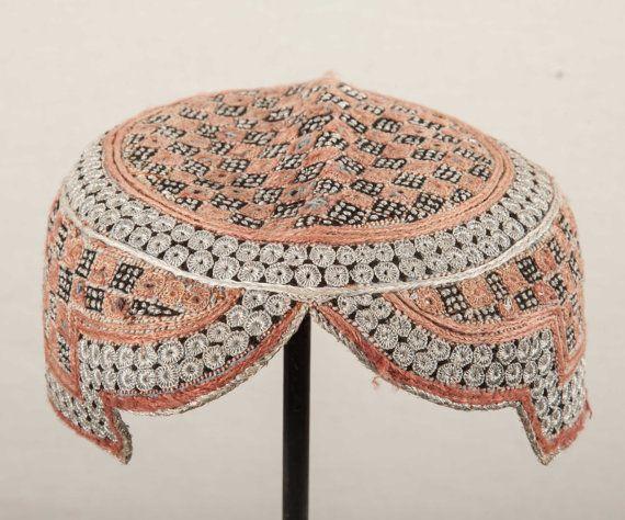 20.8''  Vintage AFGHAN HAT with mirrors  by SOrugsandtextiles