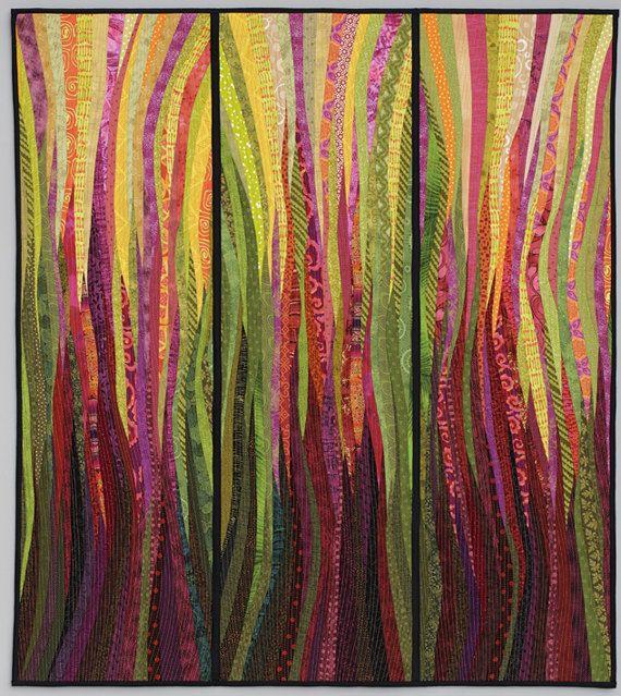 """Rhubarb fire. Original art quilt. Modern textile art. Pieced and quilted. Wall art. Modern quilt. Home decor. 38x42"""". Abstract textile art."""