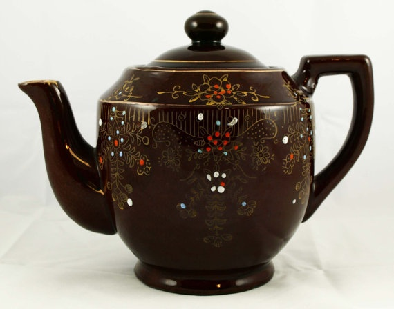 Redware Brown Betty Moriage Teapot Japan Tea Pot by aMemoryMaker, $19.95